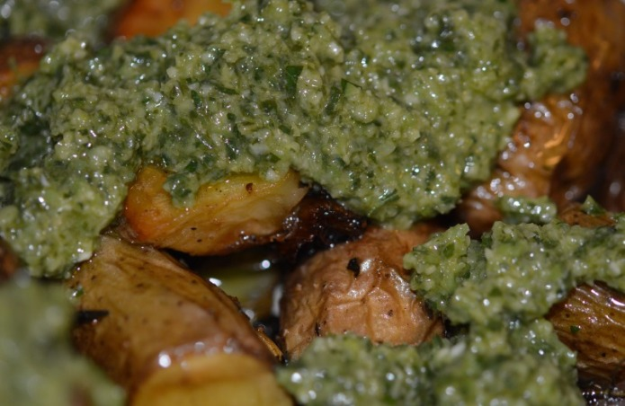 Potatoes with olive tapenade