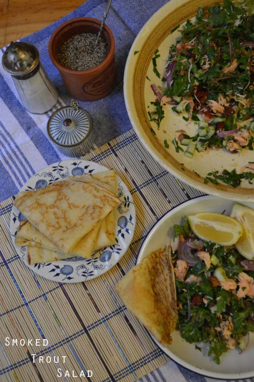 Smoked Trout Salad with Pancakes