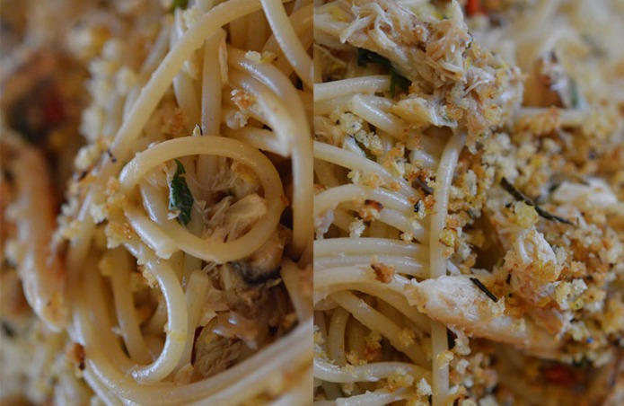 Crab, mint and lemon spelt pasta