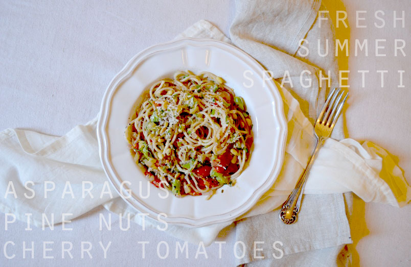 Farro Spaghetti with Asparagus, Cherry Tomatoes, Pine Nuts ...