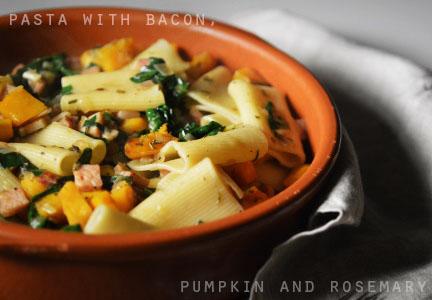 Pasta with Roast Pumpkin, Rosemary, Smoky Bacon and ...