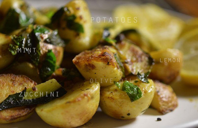Harissa Fish with Zucchini, Mint and Lemon PotatoesThe